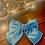 Thumbnail: Large Satin Aqua Bow with Crystal