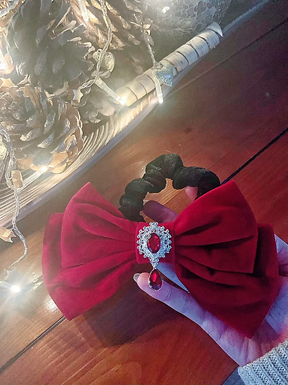 Large Red Velvet Bow Scrunchie with Crystal