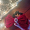 Thumbnail: Large Red Velvet Bow Scrunchie with Crystal