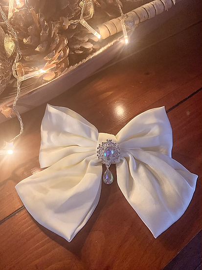 Large Satin Cream Bow with Crystal