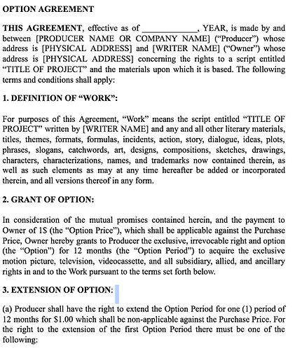 One Dollar Option Agreement (writer/producer)