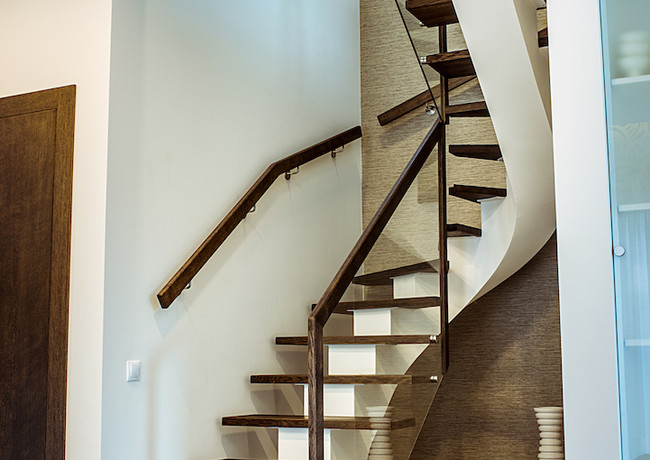 Glass, oak and steel staircase