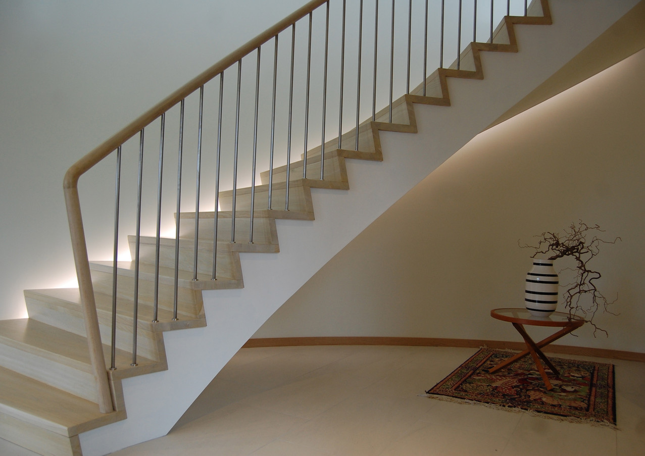 Bright solid construction staircase.