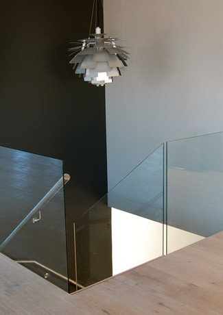 Glass railings above the staircase.