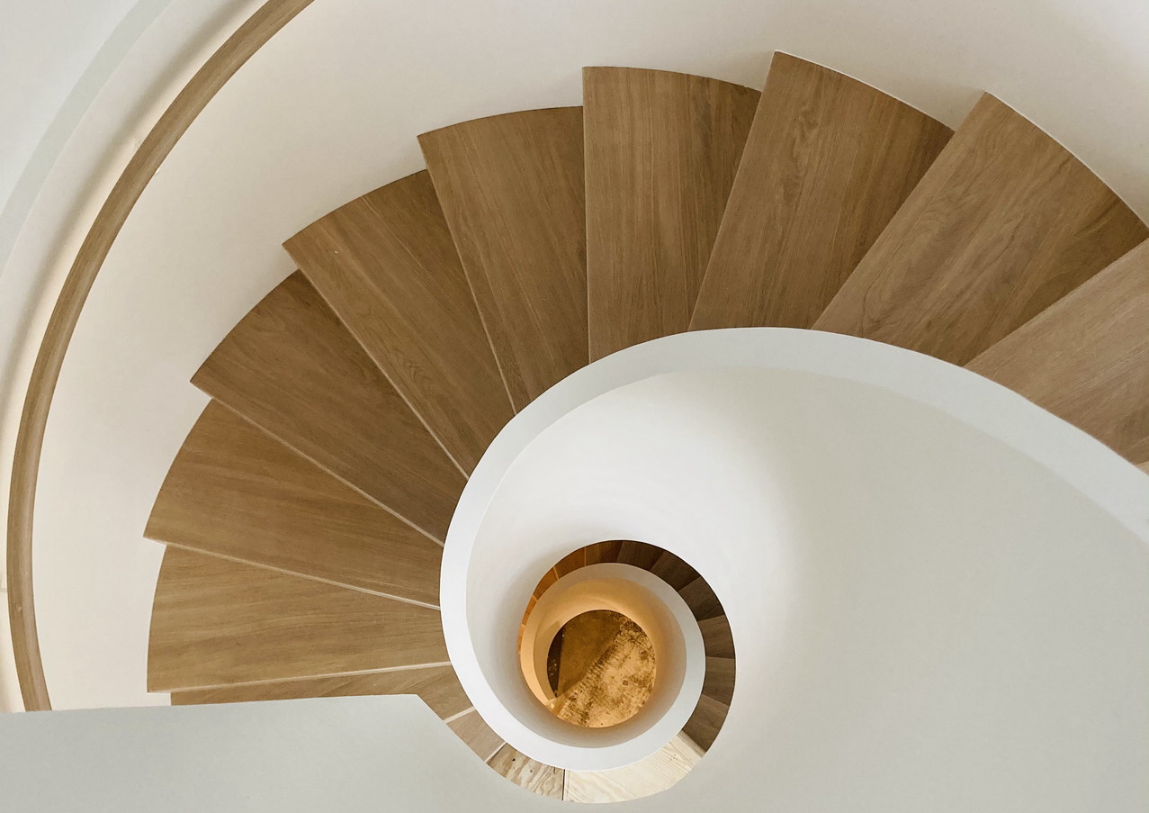 Pure white elegance and aesthetics ❤️ Tremendous 3-floor spiral staircase we've just installed in Norway, Voss town. Massive steel construction hidden and covered in pure white colour, closed steps from oak and railings with installed LED lightning