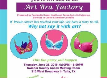 Come Create at our Art Bra Factory in Tulia!