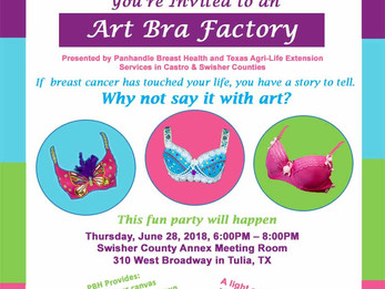 Come Create at our Art Bra Factory in Tulia!