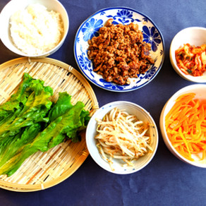 Vegetable wrap with miso minced pork
