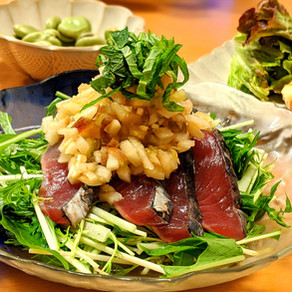 Raw fish salad with delicious onion dressing