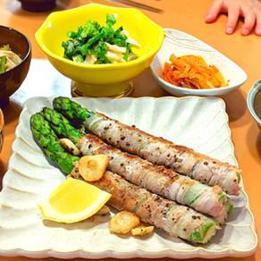 Garlic pork asparagus roll