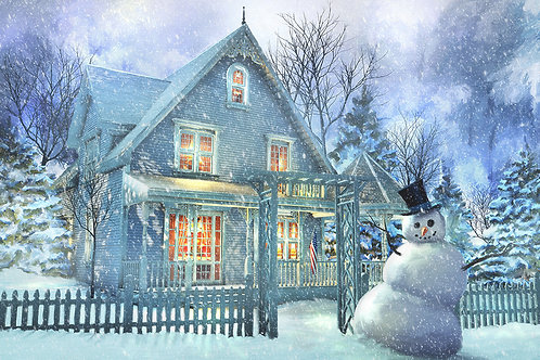 A Happy Snowman 30X20 Limited Edition On Canvas