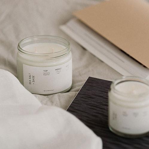 Sea salt and sage soy wax candle