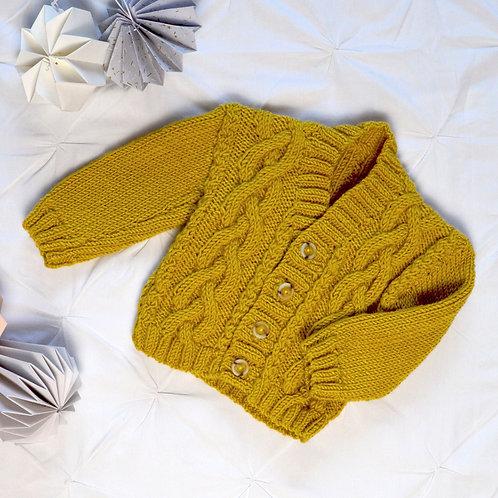 Mustard hand knitted baby cardigan