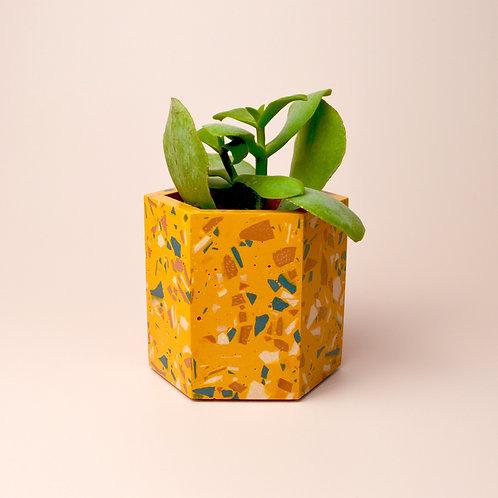 Small mustard terrazzo plant pot