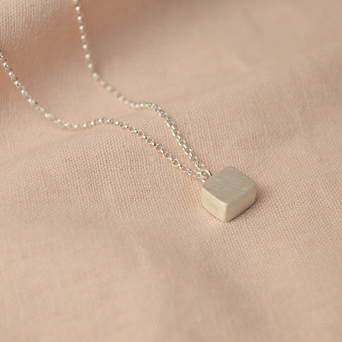 Hollow silver cube pendent necklace