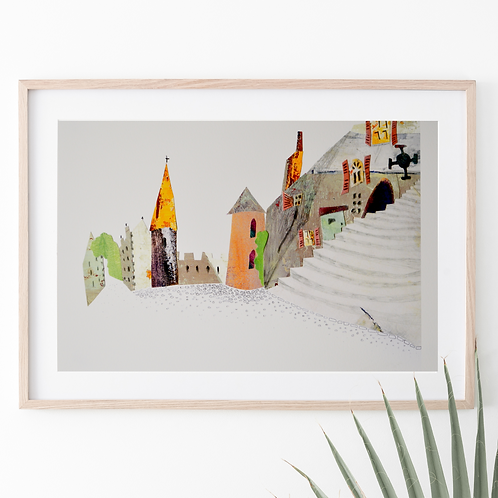 'French village' giclee print