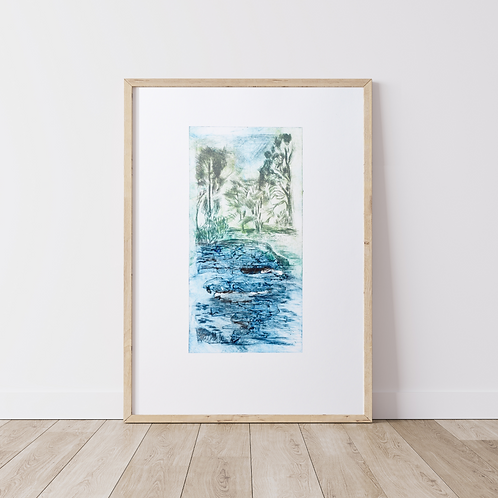 'The lake' drypoint etching