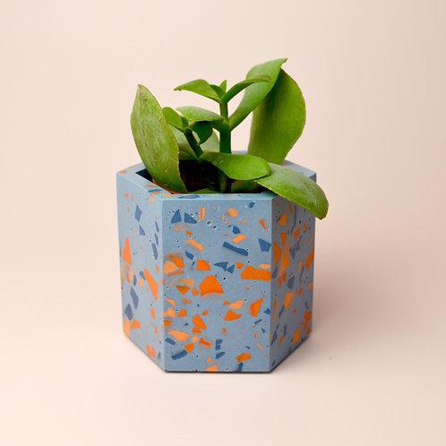 Small blue terrazzo plant pot