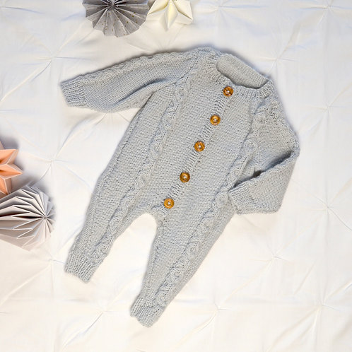 Soft grey knitted baby romper