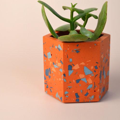 Terrazzo orange plant pot