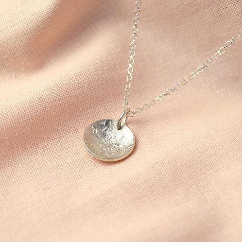 Textured 'crete' silver necklace