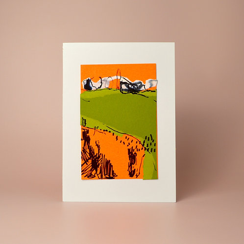 'Green field on orange' collage and drawing