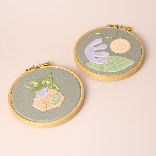 Set of two hand embroideries