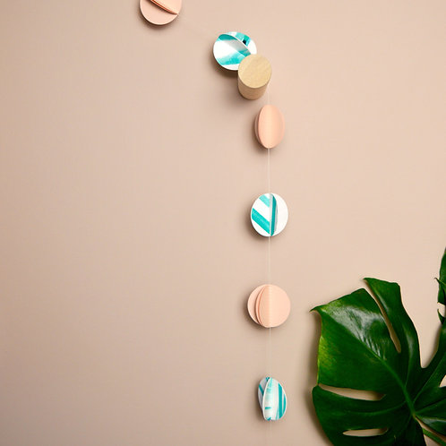 Pink and turquoise paper garland