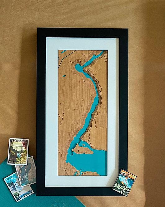 "Niagara Falls Map 10"" x 20"" Frame"