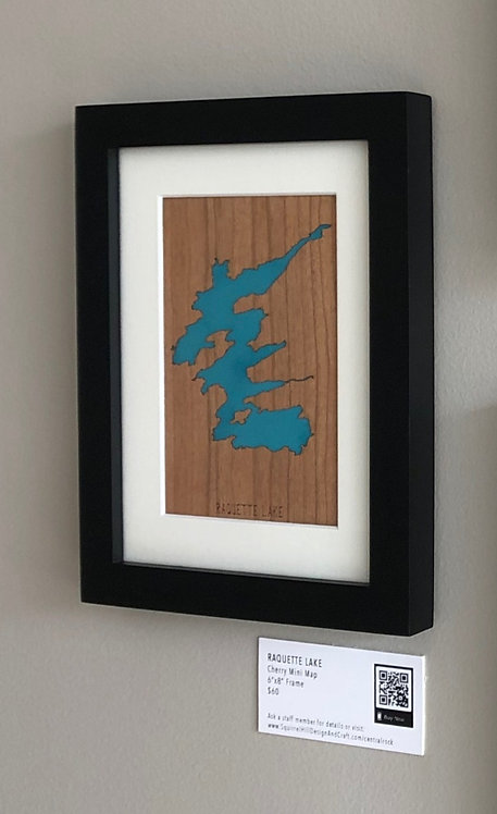 """Raquette Lake Cherry Mini Map 6""""x8"""" Frame at Central Rock Gym"""