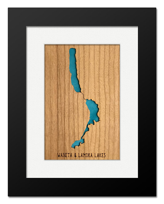 Waneta & Lamoka Lakes Framed Mini Map (Cherry)