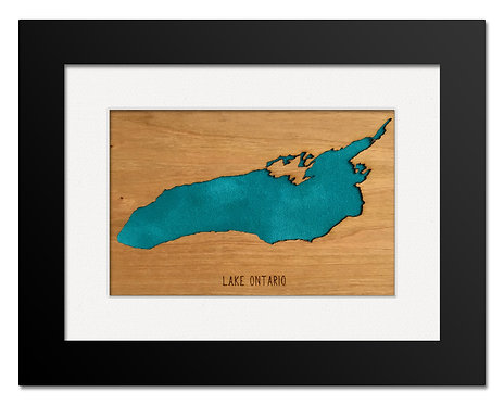 "Lake Ontario Cherry Mini Map 8""x6"" Frame at Central Rock Gym"