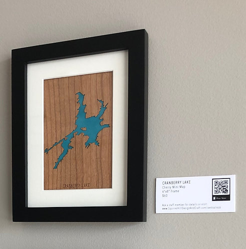 """Cranberry Lake Cherry Mini Map 6""""x8"""" Frame at Central Rock Gym"""