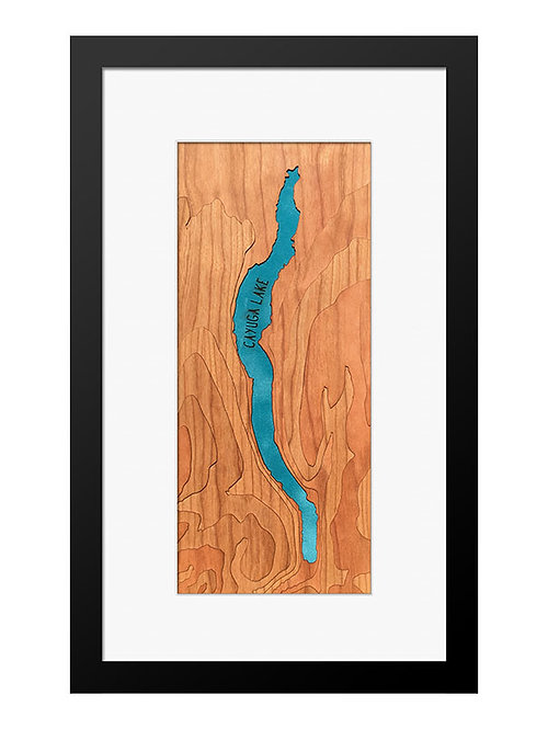 "Cayuga Lake Cherry Topo Map 8"" x 14"" Frame at Central Rock Gym"