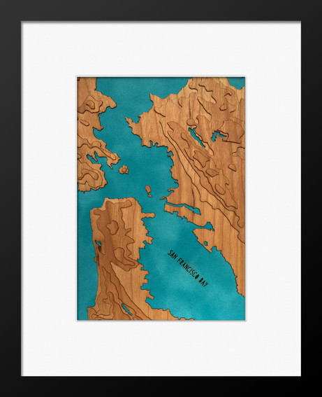 """Finished San Francisco Bay 5""""x7"""" Cherry Map in 8""""x10"""" Frame"""