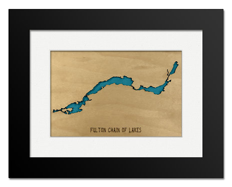 Fulton Chain of Lakes Framed Mini Map
