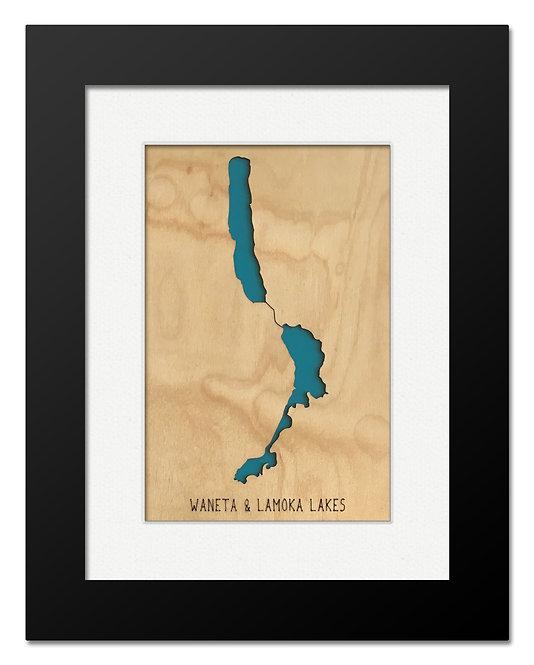 Waneta & Lamoka Lakes Framed Mini Map