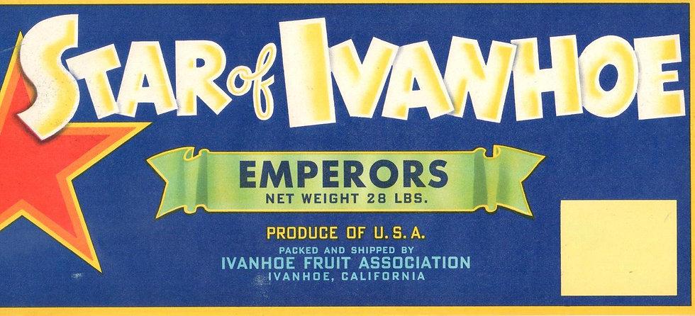 Vintage Star of Ivanhoe Ivanhoe, CA Fruit Can Label