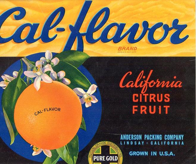 Vintage Cal-Flavor Brand Lindsay, CA Fruit Label