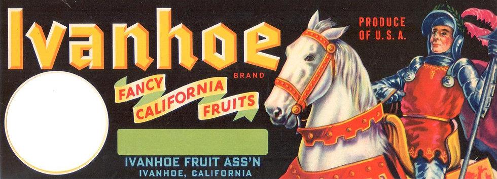 Vintage Ivanhoe Brand Fancy CA Fruits Fruit Can Label