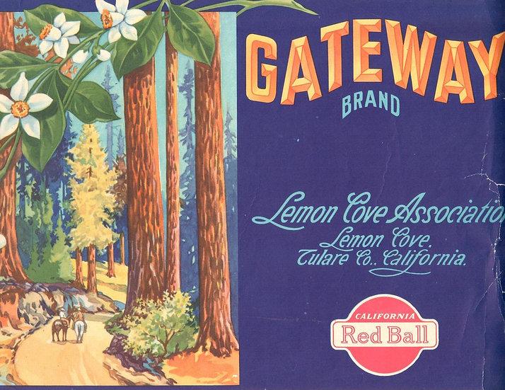 Vintage Gateway Brand Lemon Cove, CA Fruit Label