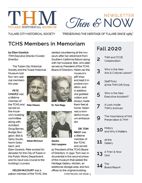 Then & Now Newsletter Fall 2020