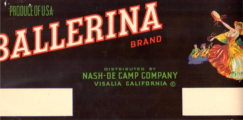 Vintage Ballerina Brand Visalia, CA Fruit Can Label