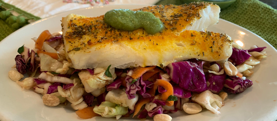 Jalapeno-Lime Cod over Mint Cabbage Slaw