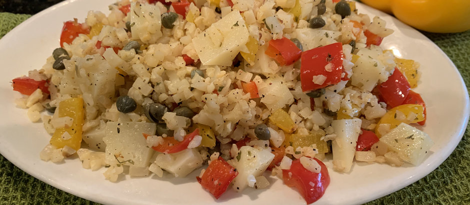 Roasted Cauliflower & Pepper Salad with Capers and Sheep Cheese