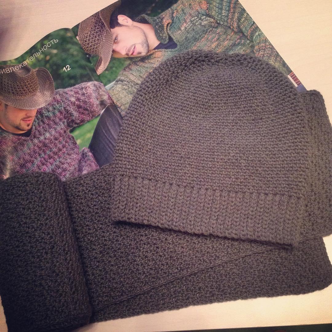 Комплект мужской шапка+шарф ❄️❄️❄️