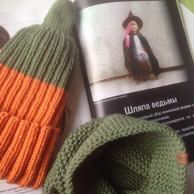 Шапка-тыква превратилась в настоящую 🎃🔮👻))))_#вязание #вязаниеспицами #шапкаснуд #шапкатыква #hel