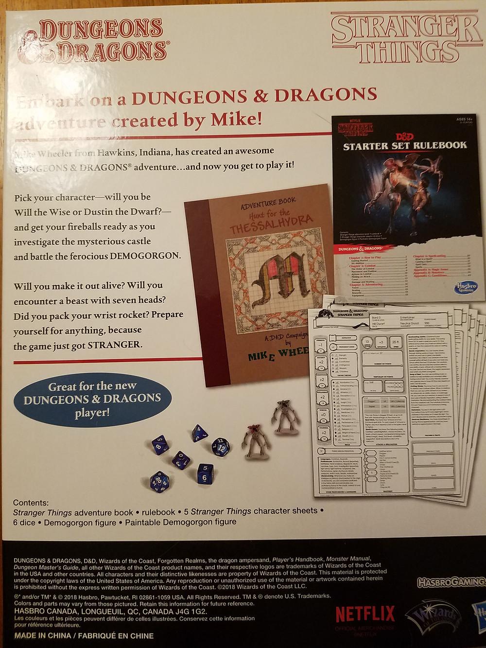 D&D Stranger Things Starter Set box back cover