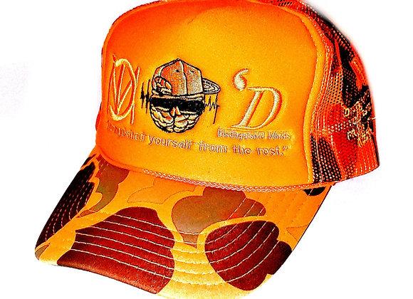 3 Logo Orange Camo Exclusive Trucker