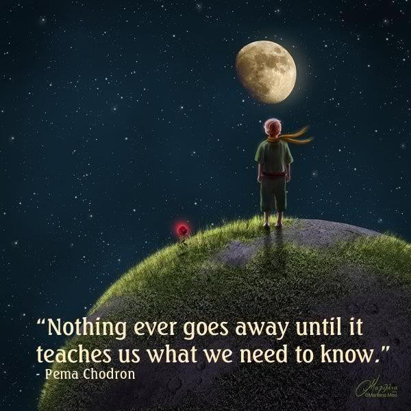 """Nothing ever goes away until it teaches us what we need to know"" - Pema Chodron."